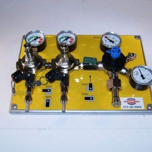 Montagebord met reduceer en 2 tussenreduceerventielen menggas / N2